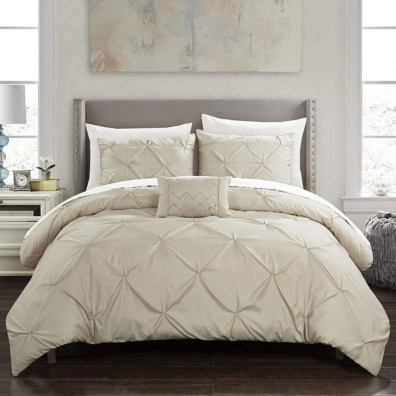 Armi Pinch-Pleated Microfiber Duvet Cover Set Linen & Bedding King Taupe - DailySale