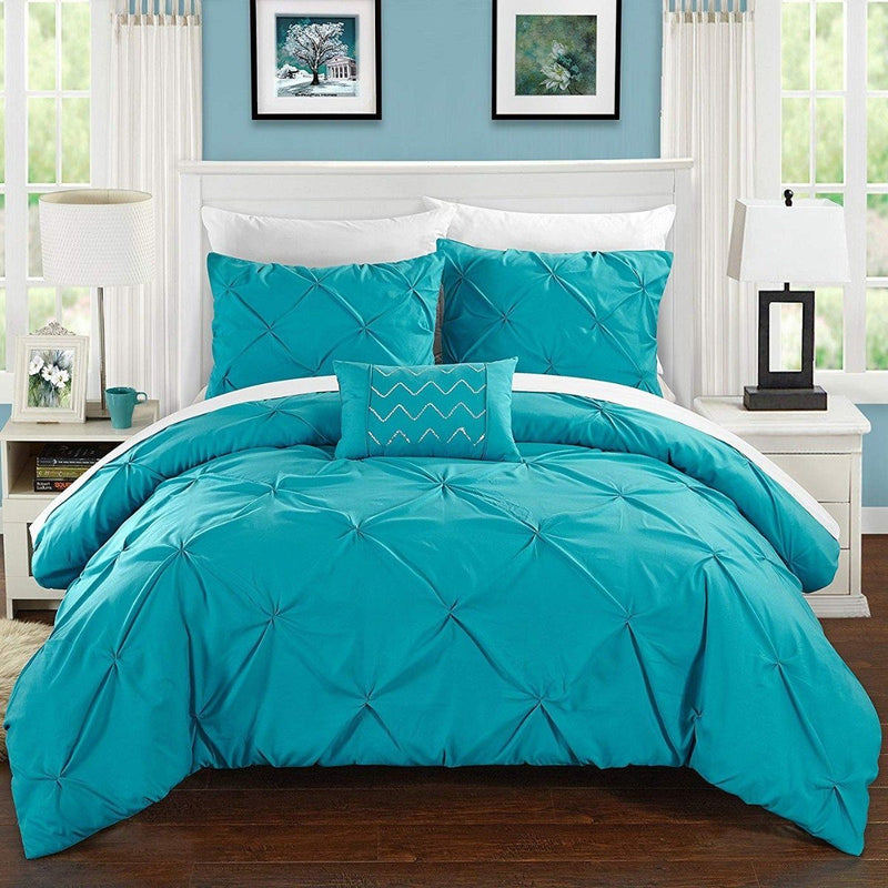 Armi Pinch-Pleated Microfiber Duvet Cover Set Linen & Bedding King Turquoise - DailySale