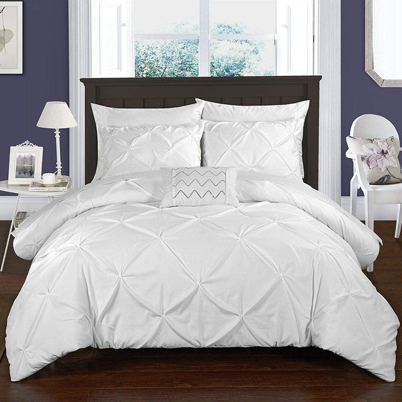 Armi Pinch-Pleated Microfiber Duvet Cover Set Linen & Bedding King White - DailySale