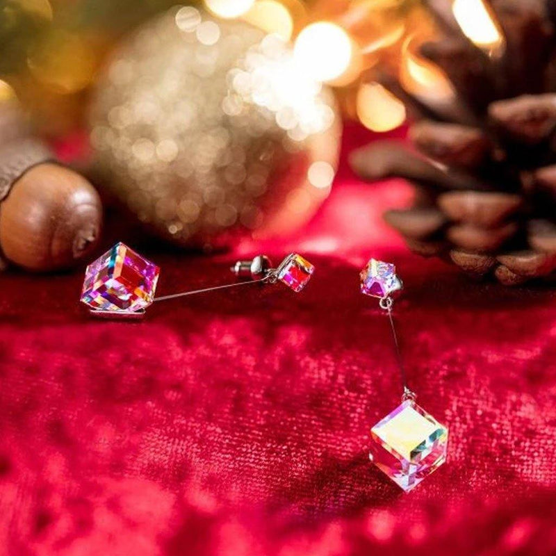 "Aurora Borealis 1.7"" Cube Drop Earrings Made with Swarovski Crystals Jewelry - DailySale"