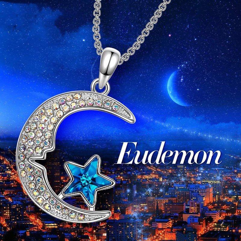 Aurora Borealis Cresent Moon and Star Necklace Jewelry - DailySale