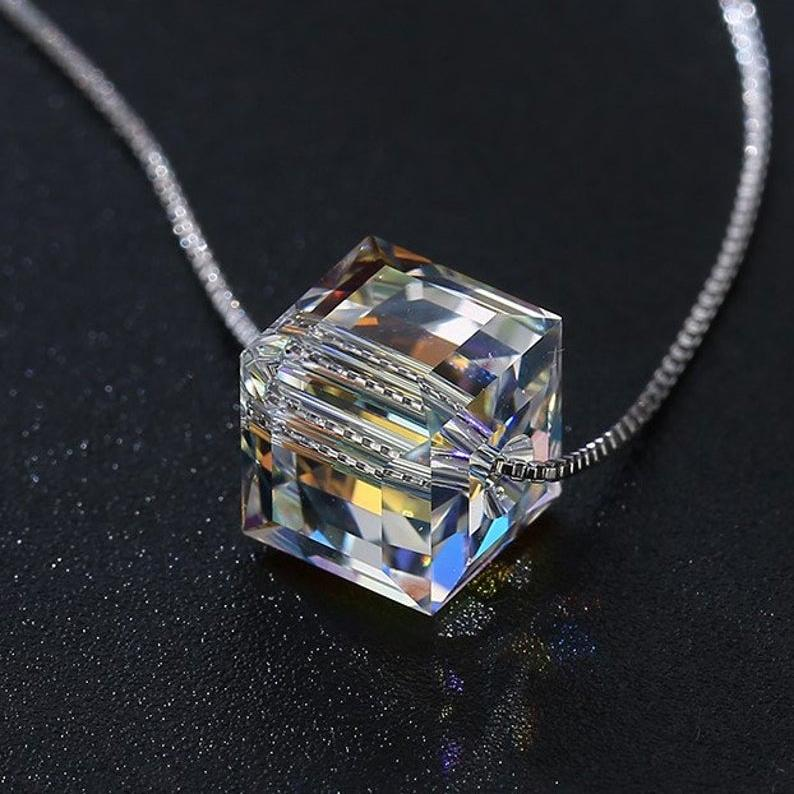 Aurora Borealis Crystal Cube Necklace Made with Swarovski Crystal Jewelry - DailySale