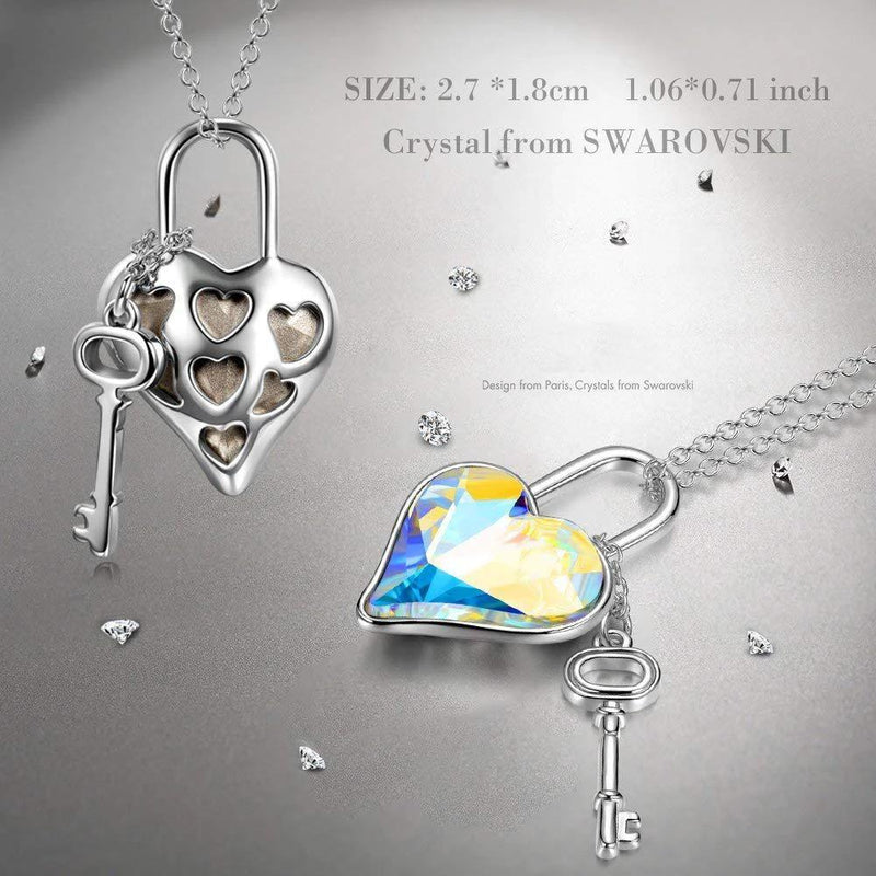 Aurora Borealis Key to my Heart Pendant Necklace Jewelry - DailySale