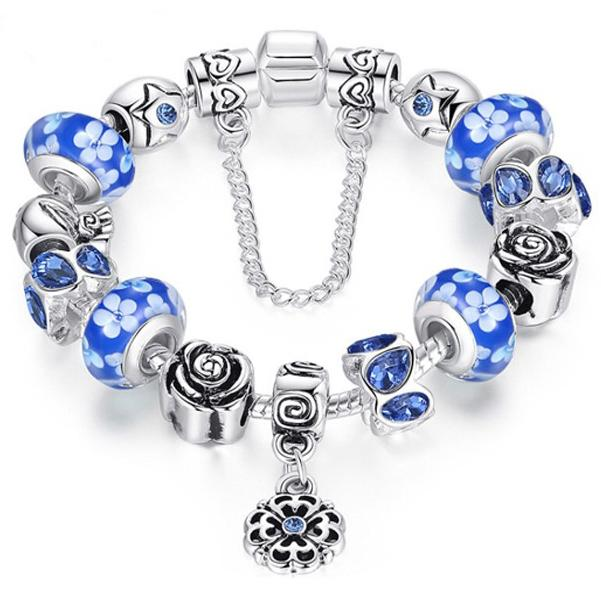 Austrian Crystal And Murano Beads Bracelet With Flower Charm Jewelry Blue - DailySale