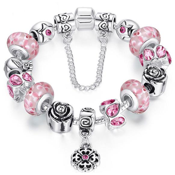 Austrian Crystal And Murano Beads Bracelet With Flower Charm Jewelry Pink - DailySale