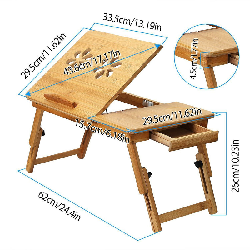 Bamboo Breakfast Serving Laptop Desk Computer Accessories - DailySale