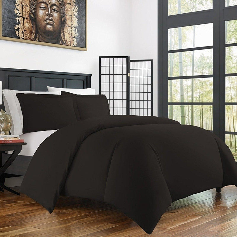 Bamboo Duvet Cover Set - Hypoallergenic - Assorted Sizes and Colors Linen & Bedding Twin/Twin XL Black - DailySale