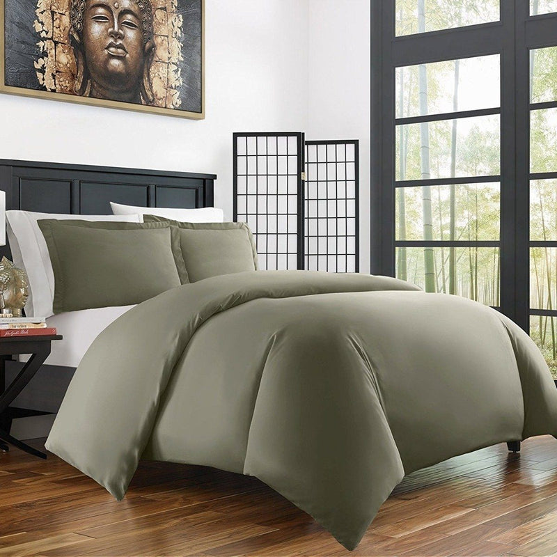 Bamboo Duvet Cover Set - Hypoallergenic - Assorted Sizes and Colors Linen & Bedding Twin/Twin XL Olive - DailySale