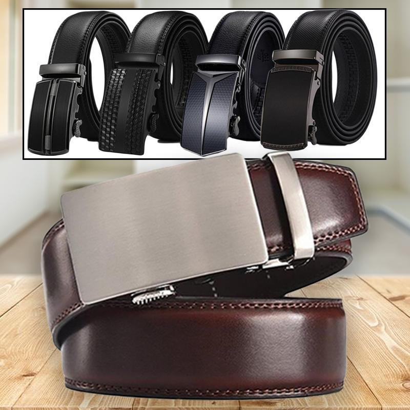 Barbados Men's Solid Buckle Leather Belt with Automatic Ratchet Men's Apparel - DailySale