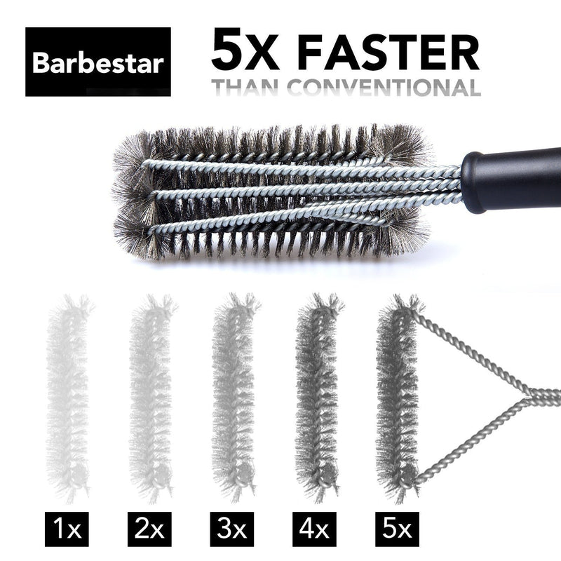 "Barbestar 18"" 3 in 1 Safe Barbecue Grill Brush Wire Bristles Kitchen Essentials - DailySale"