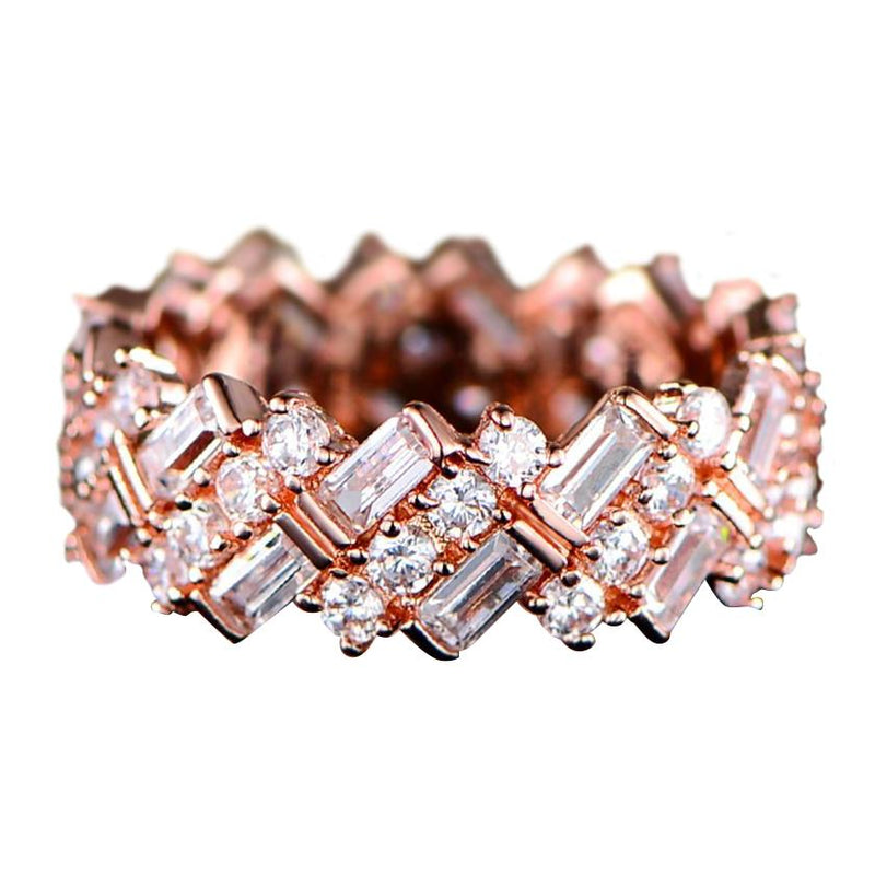 Barzel 18K Gold Plated Ring Made with Swarovski Crystal Jewelry 5 Rose Gold - DailySale