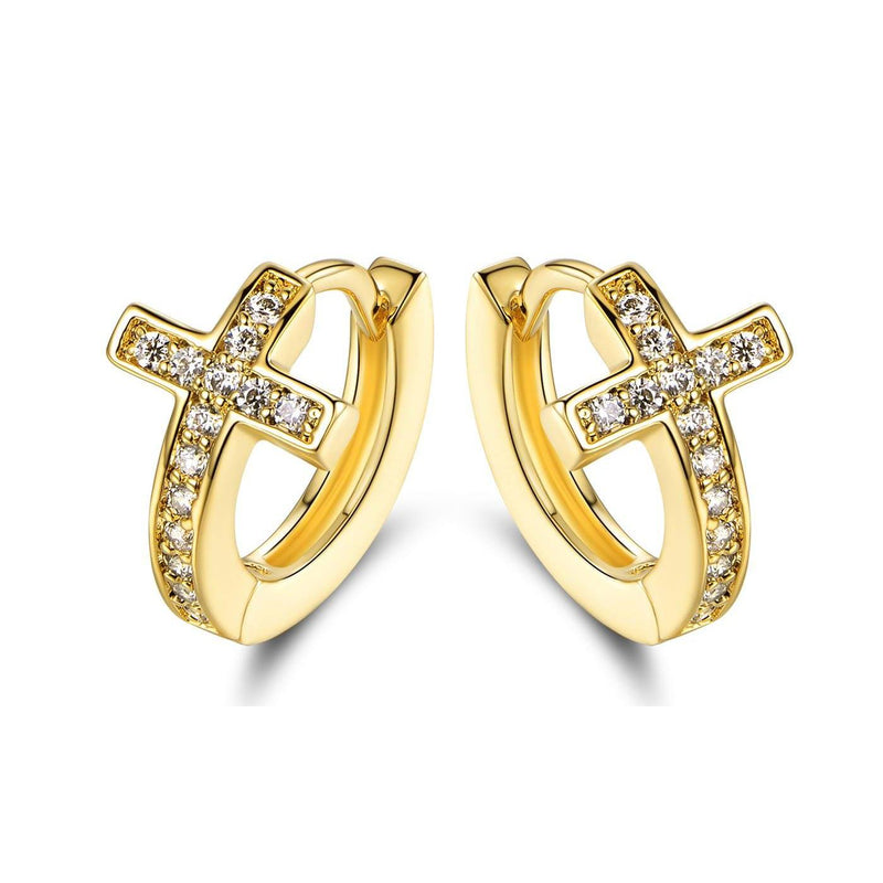 Barzel Crystal Cross Earrings Made with 18K Gold Plating and Swarovski Crystals Earrings - DailySale