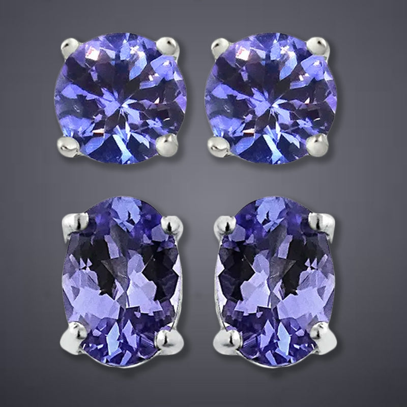 Genuine Tanzanite Round or Oval Shaped Studs - DailySale, Inc