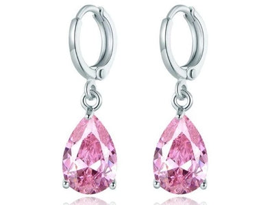 Pear Cut Pink Topaz Drop Earrings Made with Swarovski Crystals - DailySale, Inc