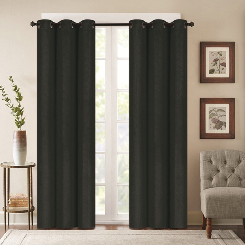 Benham Embossed Solid Color Blackout Grommet Panel Pair Lighting & Decor Black 76'' X 63'' - DailySale