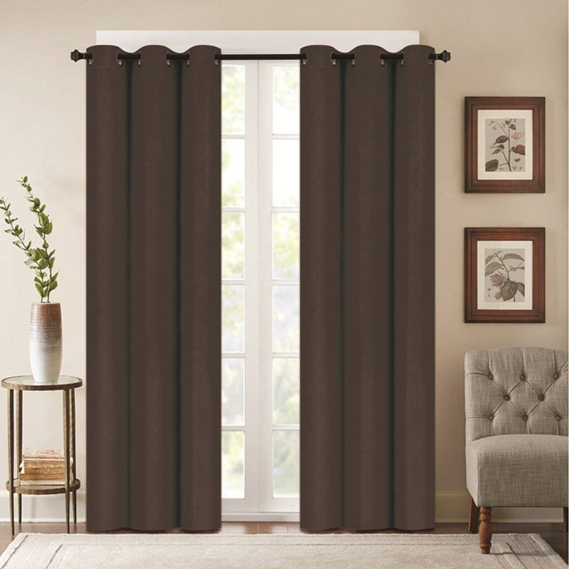 Benham Embossed Solid Color Blackout Grommet Panel Pair Lighting & Decor Brown 76'' X 63'' - DailySale