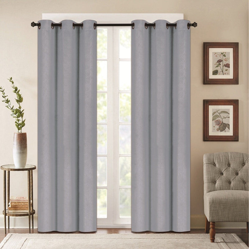 Benham Embossed Solid Color Blackout Grommet Panel Pair Lighting & Decor Gray 76'' X 63'' - DailySale