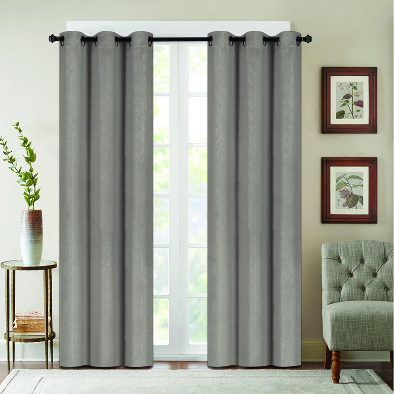 Benham Embossed Solid Color Blackout Grommet Panel Pair Lighting & Decor Light Gray 76'' X 63'' - DailySale