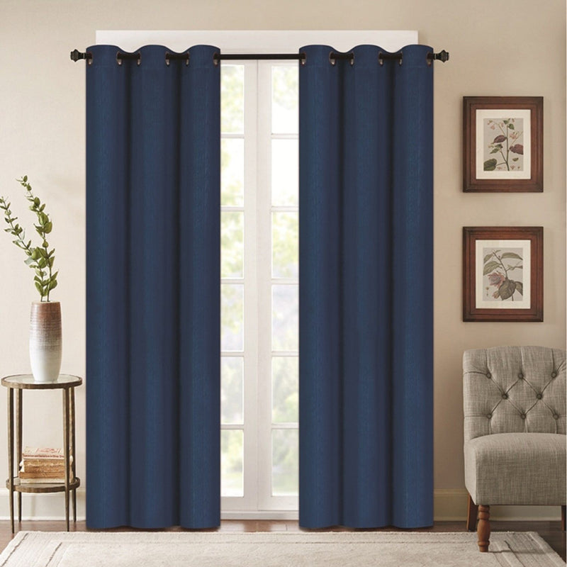 Benham Embossed Solid Color Blackout Grommet Panel Pair Lighting & Decor Navy Blue 76'' X 63'' - DailySale