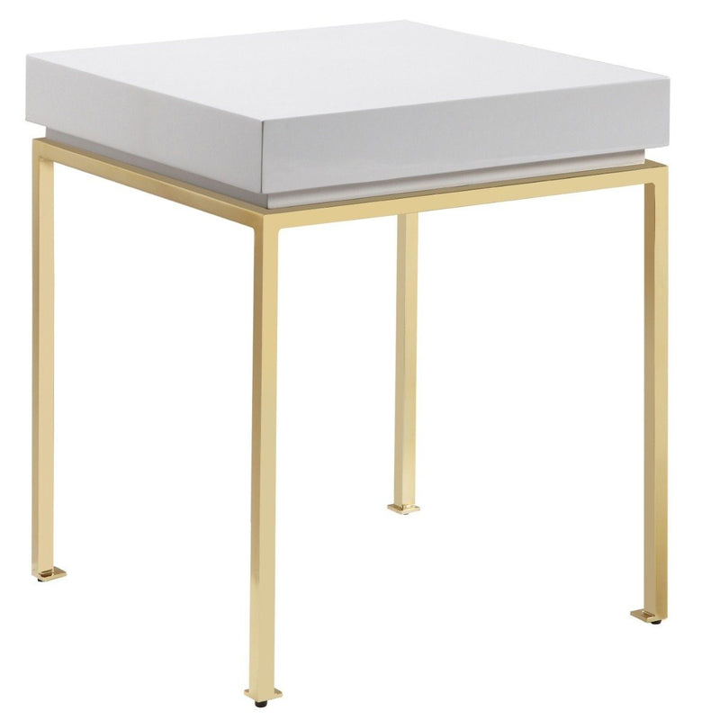 Bianca Nightstand Side Table Square Frame High Sheen Lacquer Furniture & Decor Beige - DailySale