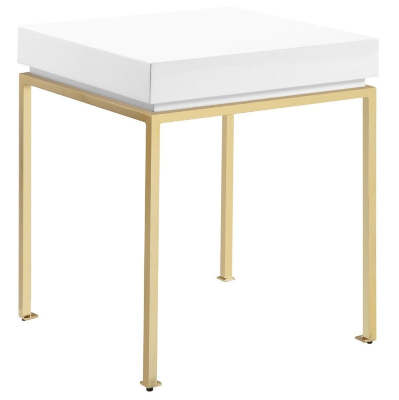 Bianca Nightstand Side Table Square Frame High Sheen Lacquer Furniture & Decor White - DailySale