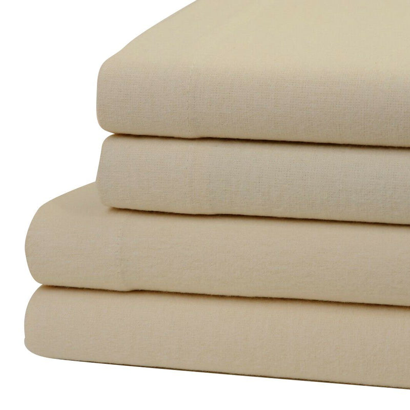 Bibb Home 100% Cotton Solid Flannel Deep Pocket Sheet Set Linen & Bedding Twin Beige - DailySale