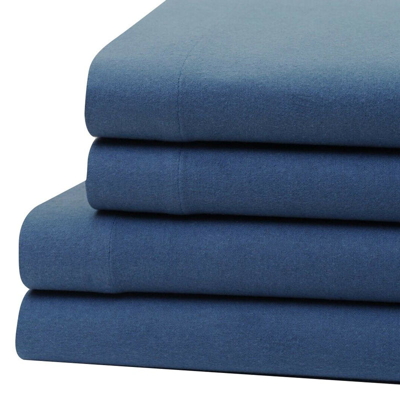 Bibb Home 100% Cotton Solid Flannel Deep Pocket Sheet Set Linen & Bedding Twin Blue - DailySale