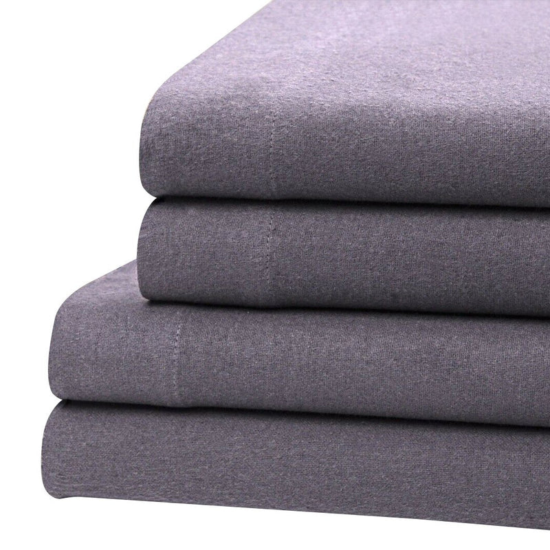 Bibb Home 100% Cotton Solid Flannel Deep Pocket Sheet Set Linen & Bedding Twin Gray - DailySale