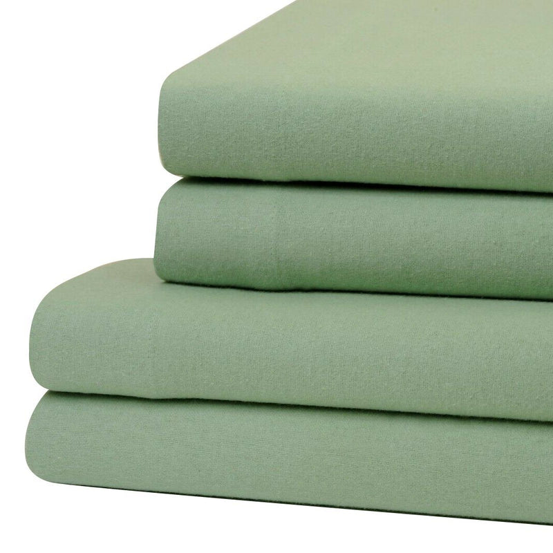 Bibb Home 100% Cotton Solid Flannel Deep Pocket Sheet Set Linen & Bedding Twin Sage - DailySale