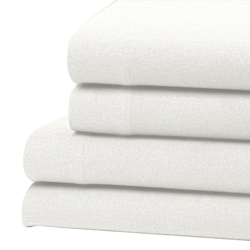 Bibb Home 100% Cotton Solid Flannel Deep Pocket Sheet Set Linen & Bedding Twin White - DailySale
