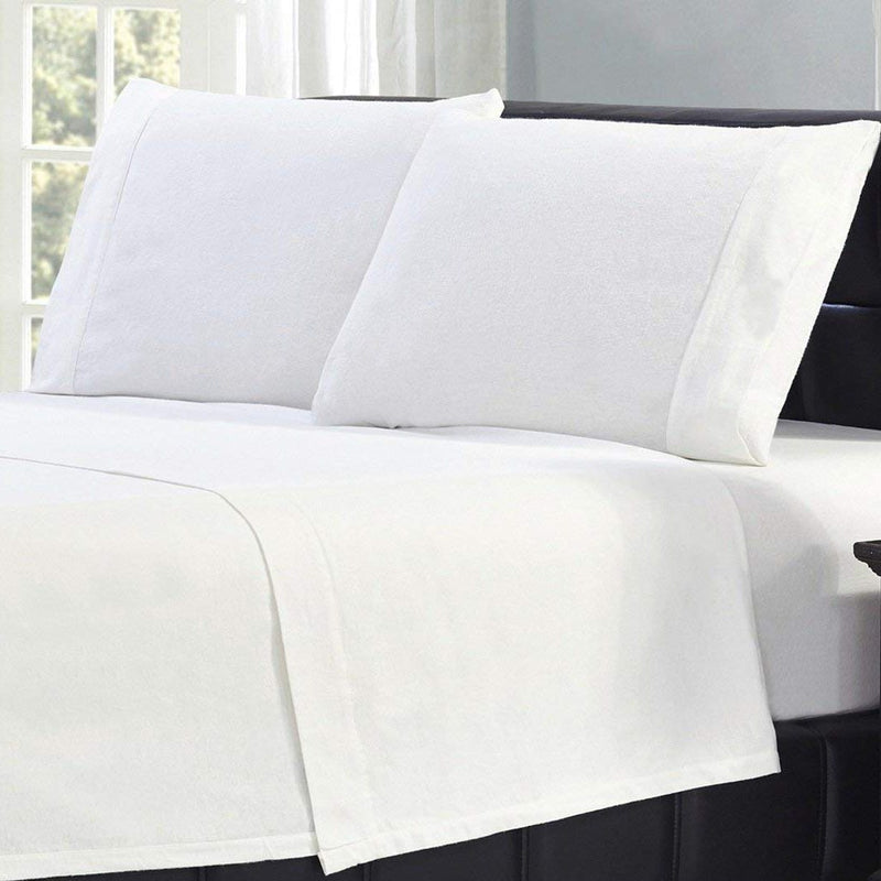 Bibb Home 100% Cotton Solid Flannel Sheet Set Linen & Bedding - DailySale