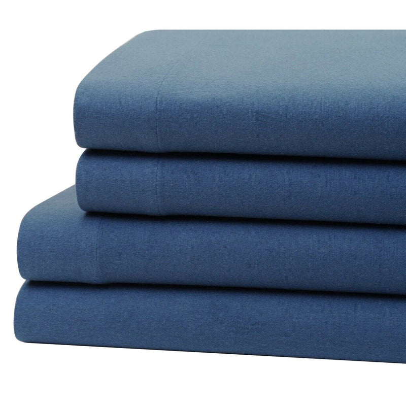 Bibb Home 100% Cotton Solid Flannel Sheet Set Linen & Bedding Twin Blue - DailySale