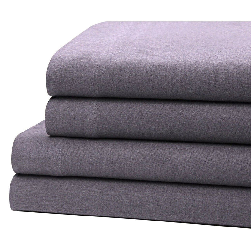 Bibb Home 100% Cotton Solid Flannel Sheet Set Linen & Bedding Twin Gray - DailySale
