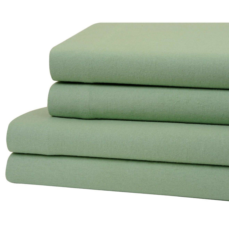Bibb Home 100% Cotton Solid Flannel Sheet Set Linen & Bedding Twin Sage - DailySale