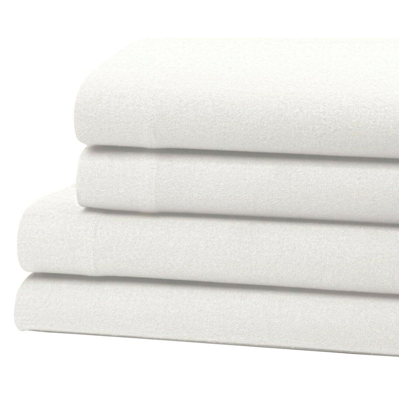 Bibb Home 100% Cotton Solid Flannel Sheet Set Linen & Bedding Twin White - DailySale