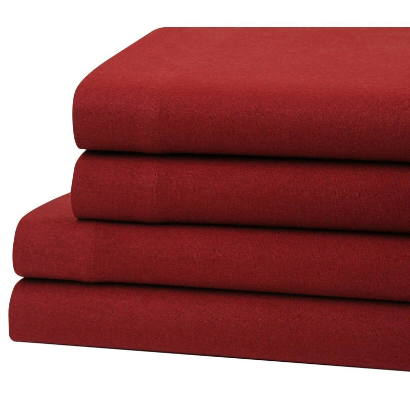 Bibb Home 100% Cotton Solid Flannel Sheet Set Linen & Bedding Twin Wine - DailySale