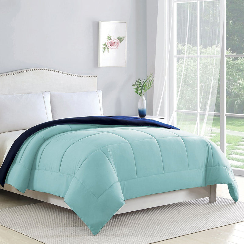 Bibb Home 2-Tone Down Alternative Reversible Comforter Linen & Bedding Full/Queen Aqua/Navy - DailySale