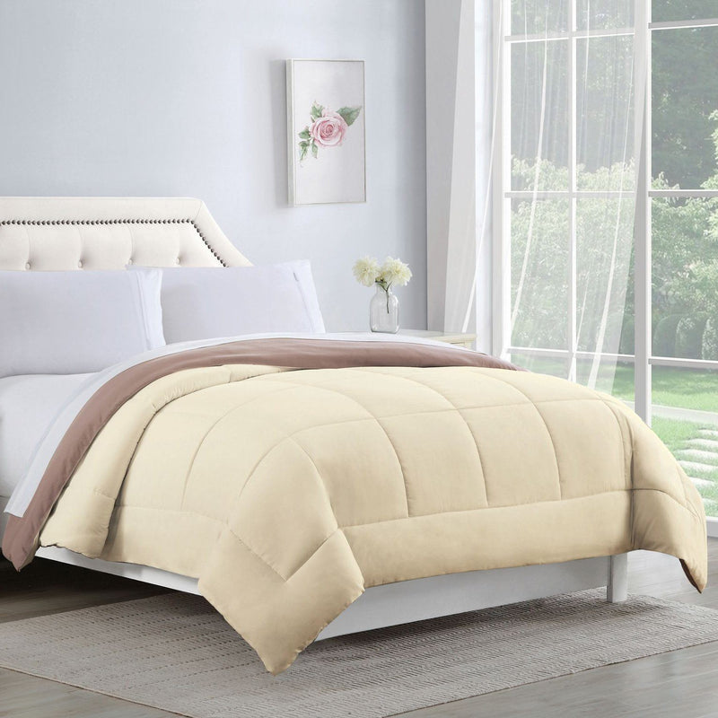 Bibb Home 2-Tone Down Alternative Reversible Comforter Linen & Bedding Full/Queen Ivory/Taupe - DailySale