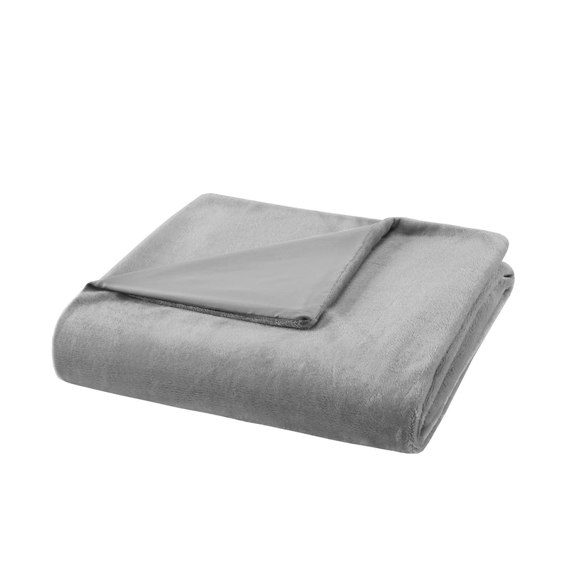 "Bibb Home Weighted Blanket with Reversible Removable Cover Bed & Bath Silver 48"" x 72"" - 12 lb - DailySale"