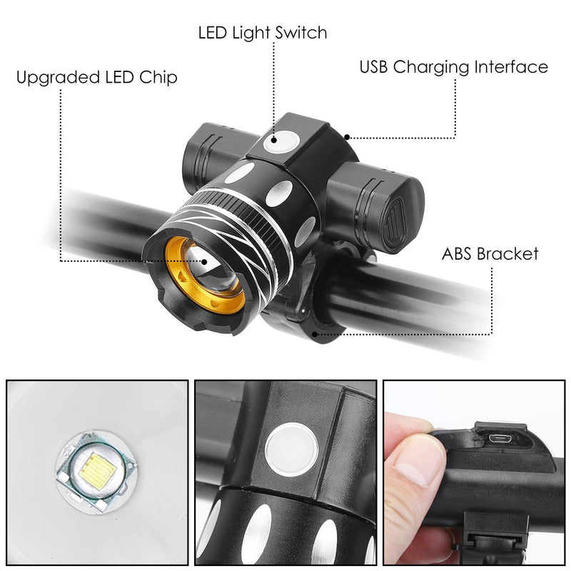 Bike Headlight USB Rechargeable with Bracket Sports & Outdoors - DailySale