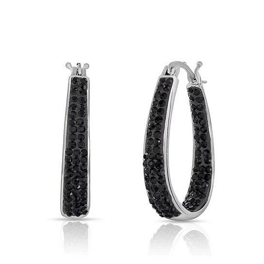 Black and White Austrian Crystal Hoop Earrings Earrings - DailySale