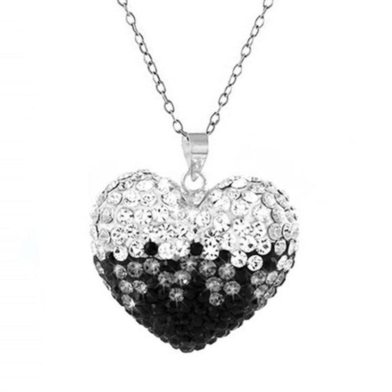 Black and White Bubble Heart Necklace with Swarovski Elements Jewelry - DailySale