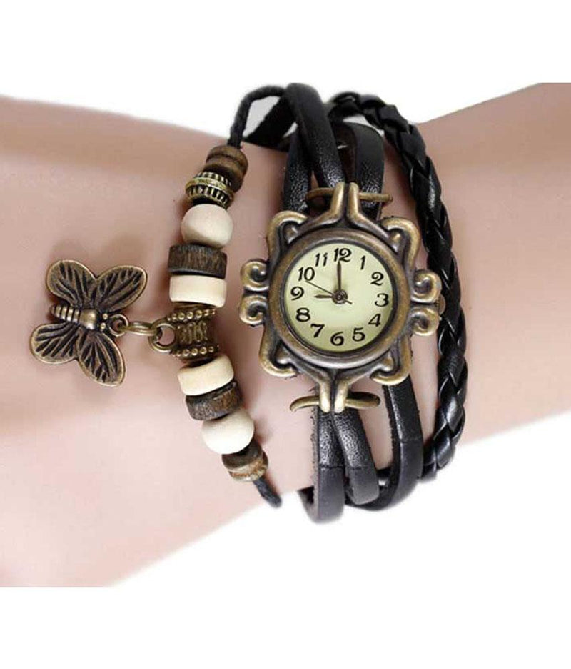 Boho Chic Vintage Inspired Handmade Butterfly Watch - Assorted Colors Women's Apparel Black - DailySale