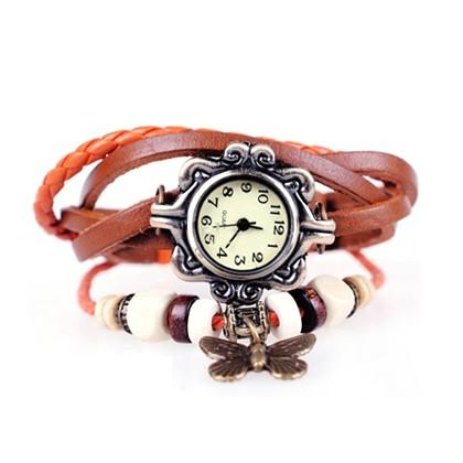 Boho Chic Vintage Inspired Handmade Butterfly Watch - Assorted Colors Women's Apparel Brown - DailySale