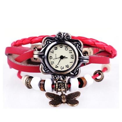 Boho Chic Vintage Inspired Handmade Butterfly Watch - Assorted Colors Women's Apparel Red - DailySale