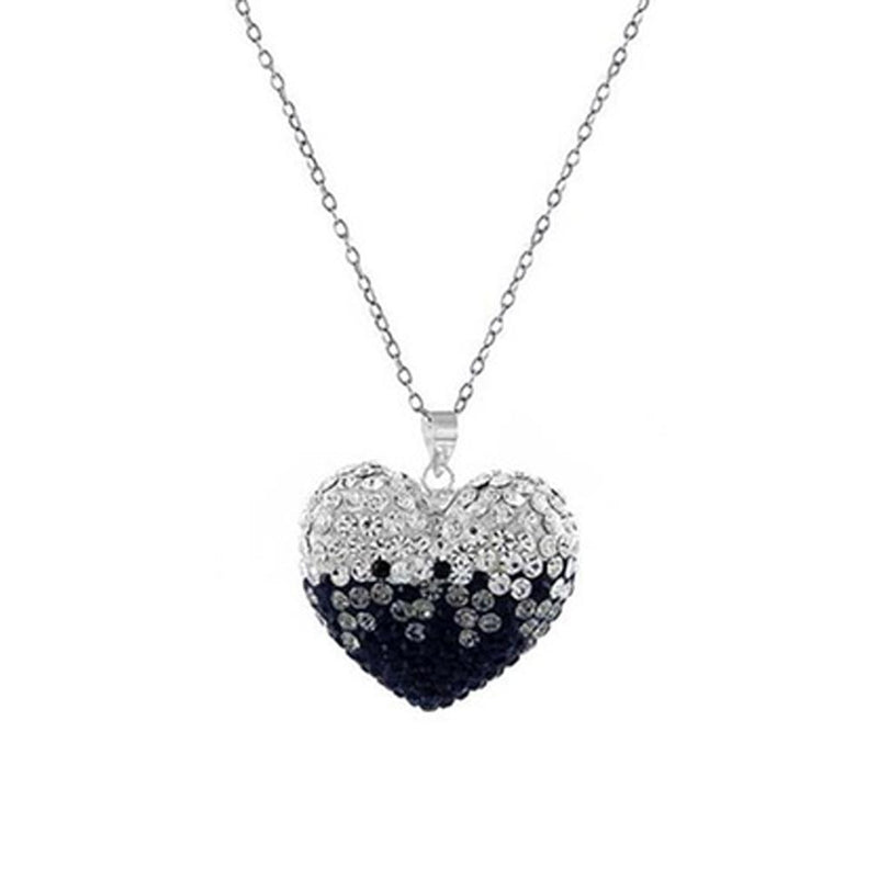 Bubble Heart Pendant in Solid Sterling Silver Made with Swarovski Elements Jewelry Black/White - DailySale