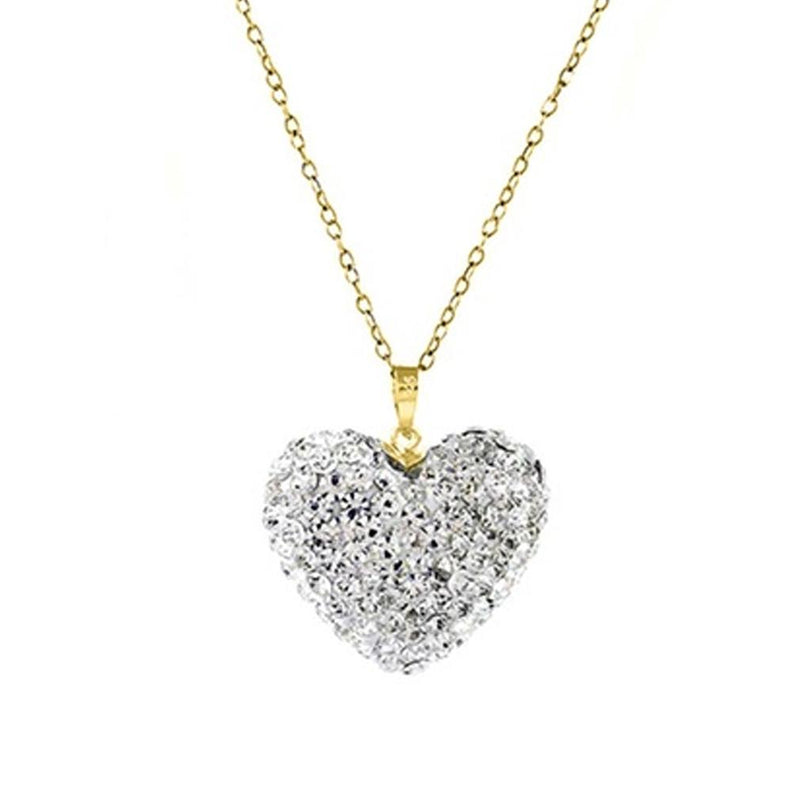 Bubble Heart Pendant in Solid Sterling Silver Made with Swarovski Elements Jewelry Gold/White - DailySale