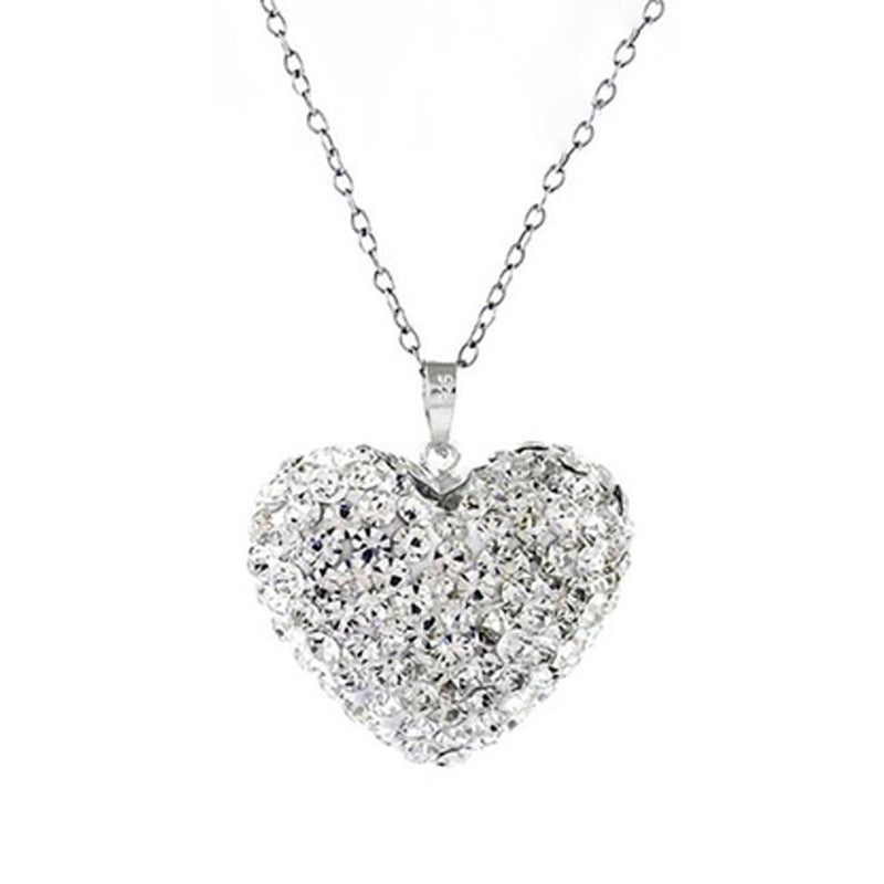 Bubble Heart Pendant in Solid Sterling Silver Made with Swarovski Elements Jewelry White/Silver - DailySale