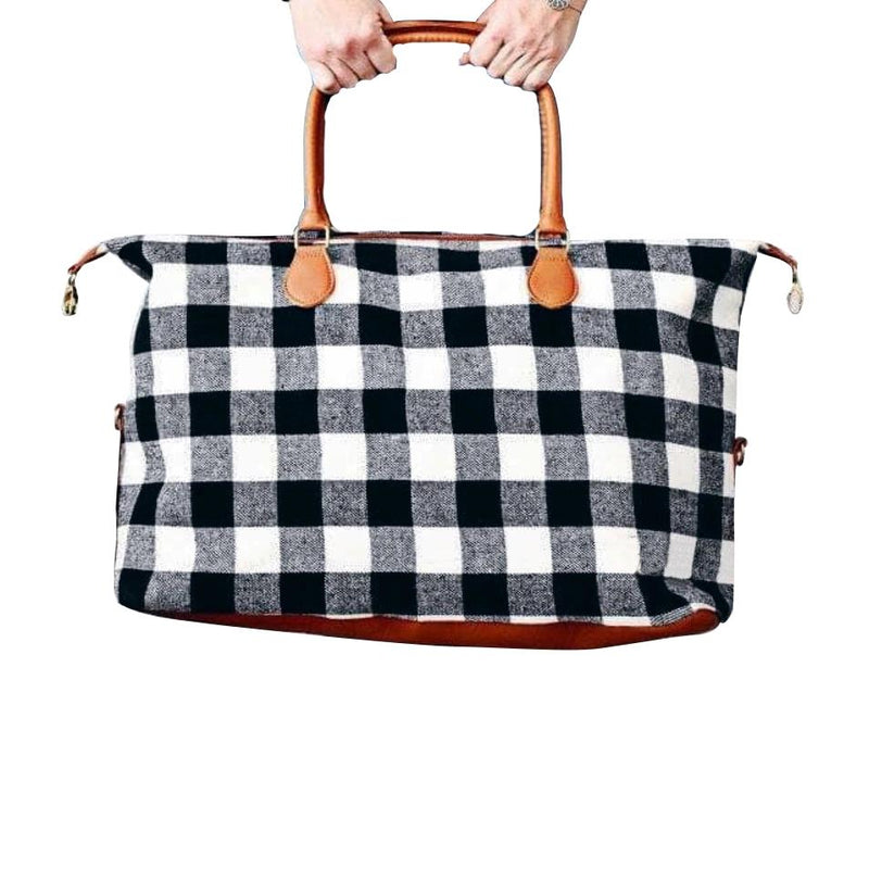 Buffalo Check Tote Weekender Bag Purse Handbags & Wallets Black - DailySale
