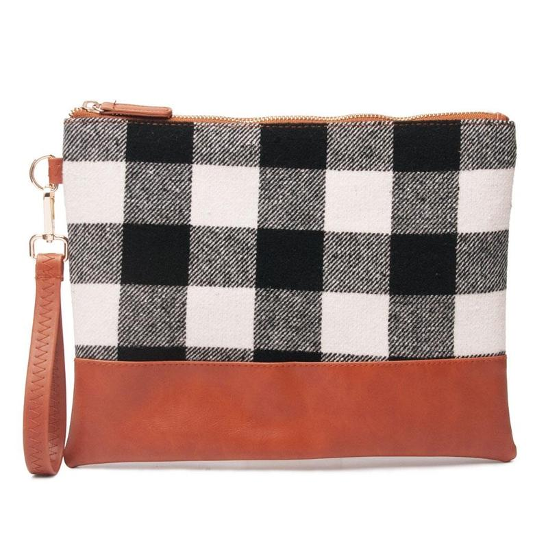 Buffalo Plaid Clutch Durable and Lightweight Wristlet Handbags & Wallets Black - DailySale